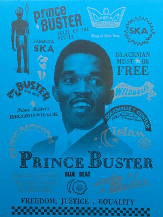 Prince Buster - Voice Of The People A4 Black & Silver Embossed on Blue surfaced Poster